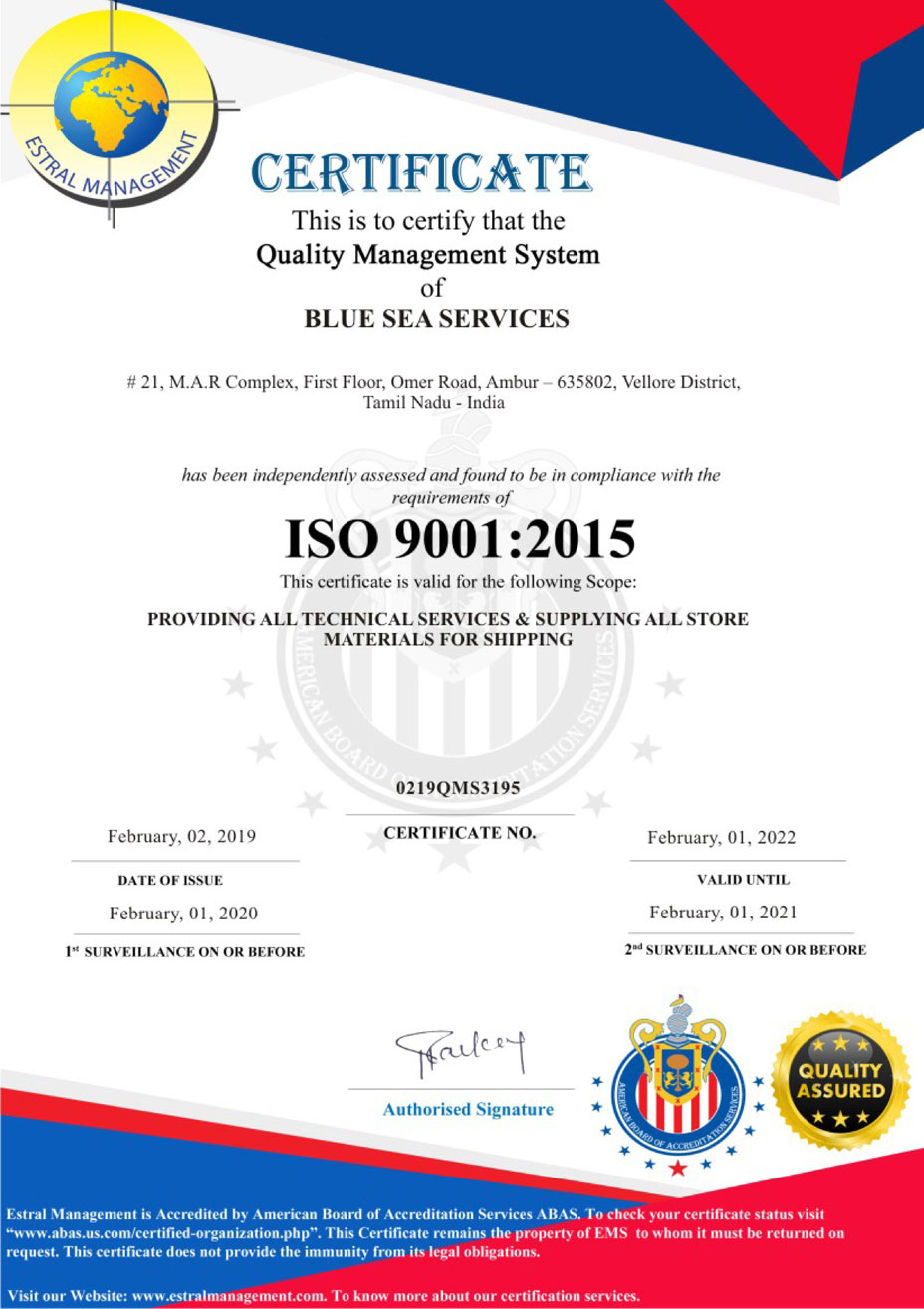 Blue Sea Services ISO 9001:2015