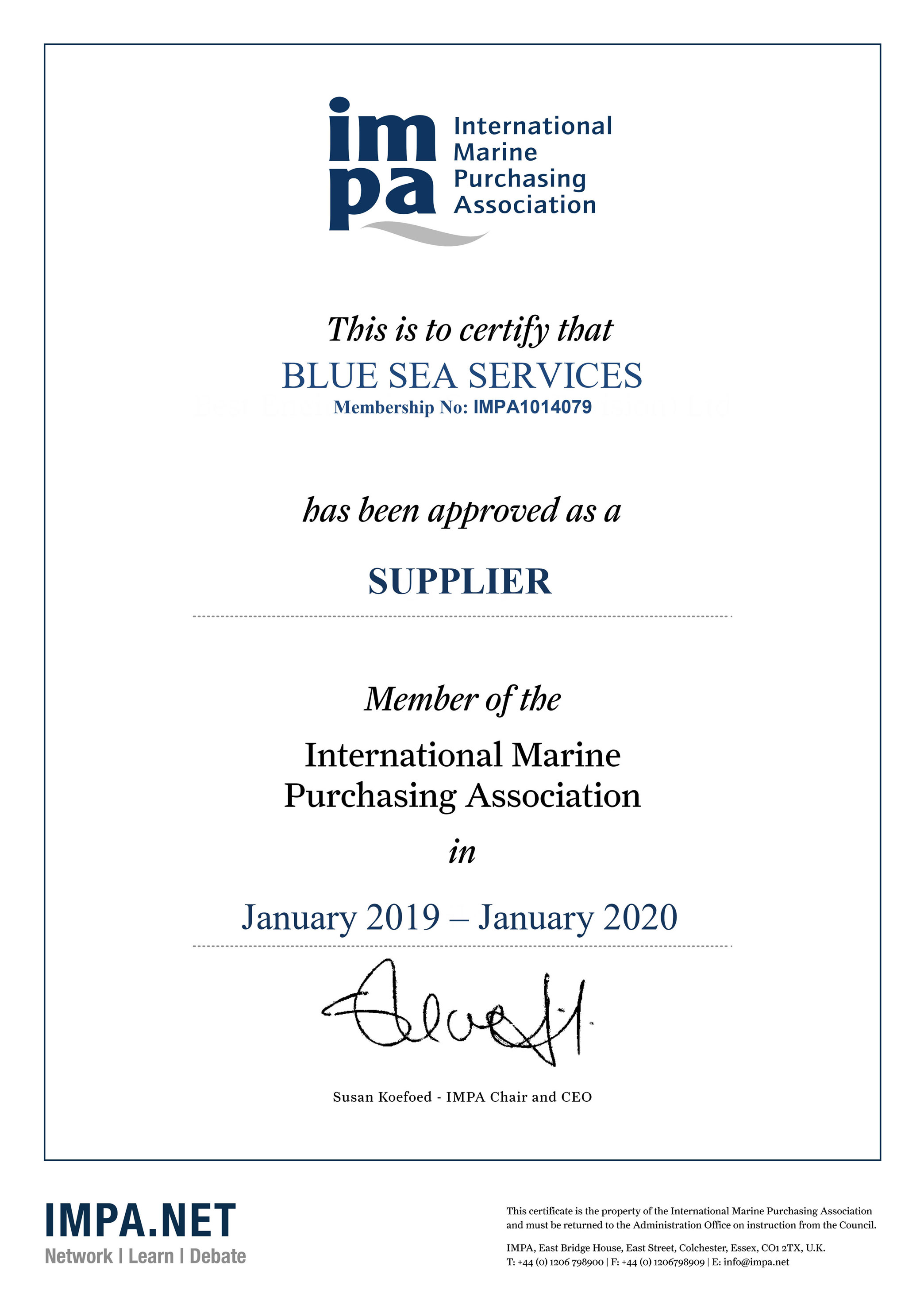 BLUE SEA SERVICES Membership Certificate